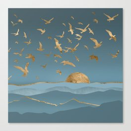 Blueprint and Gold Sea Scape Canvas Print