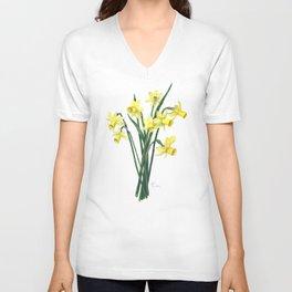 Little Daffodils Botanical Illustration Unisex V-Neck