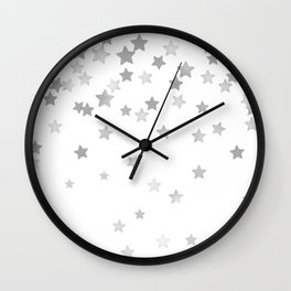Falling Stars - Silver Marble Wall Clock