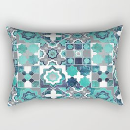 Spanish moroccan tiles inspiration // turquoise green silver lines Rectangular Pillow