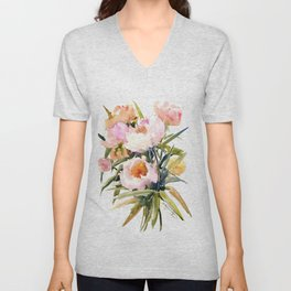 Soft Pink Peonies Asian watercolor Peonies, soft pink, olive green Unisex V-Neck