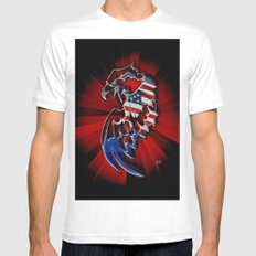 Patriotic Eagle MEDIUM Mens Fitted Tee White