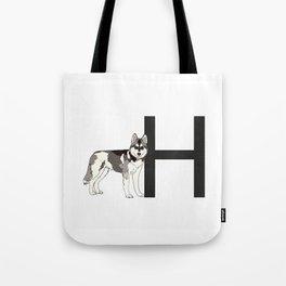 H is for Husky Tote Bag