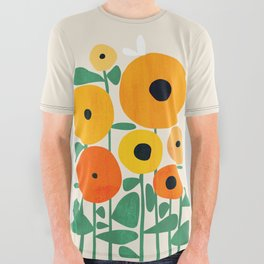Sunflower and Bee All Over Graphic Tee