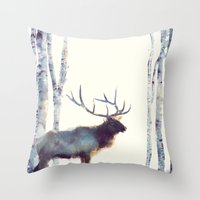 elk Throw Pillows featuring Elk // Follow by Amy Hamilton