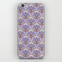 bedding iPhone & iPod Skins featuring Art Deco Lotus Rising 2 - sage grey & purple pattern by micklyn