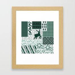 Holiday Green Quilt Design Framed Art Print