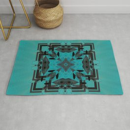 Turquoise Ornate Abstract Design Rug