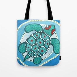 Funky Teal Turtle Tote Bag