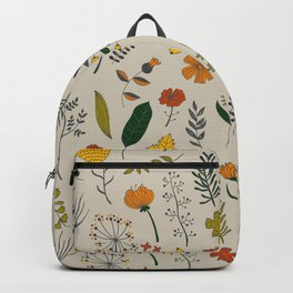 Colorful Plants and Herbs Pattern Backpack