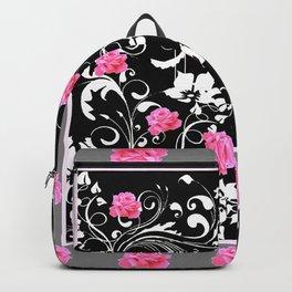 BEAUTIFUL PINK GREY-BLACK ROSE SCROLLS Backpack