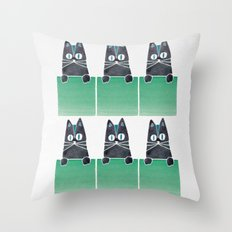 Cats in Boxes Throw Pillow