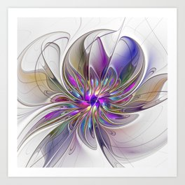 Energetic, Abstract And Colorful Fractal Art Flower Art Print