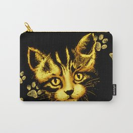 Cute Cat Portrait with Paws Prints Carry-All Pouch