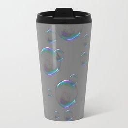 IRIDESCENT SOAP BUBBLES GREY COLOR DESIGN Travel Mug