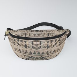 Ethnic Geometric Bark and Wood texture pattern Fanny Pack