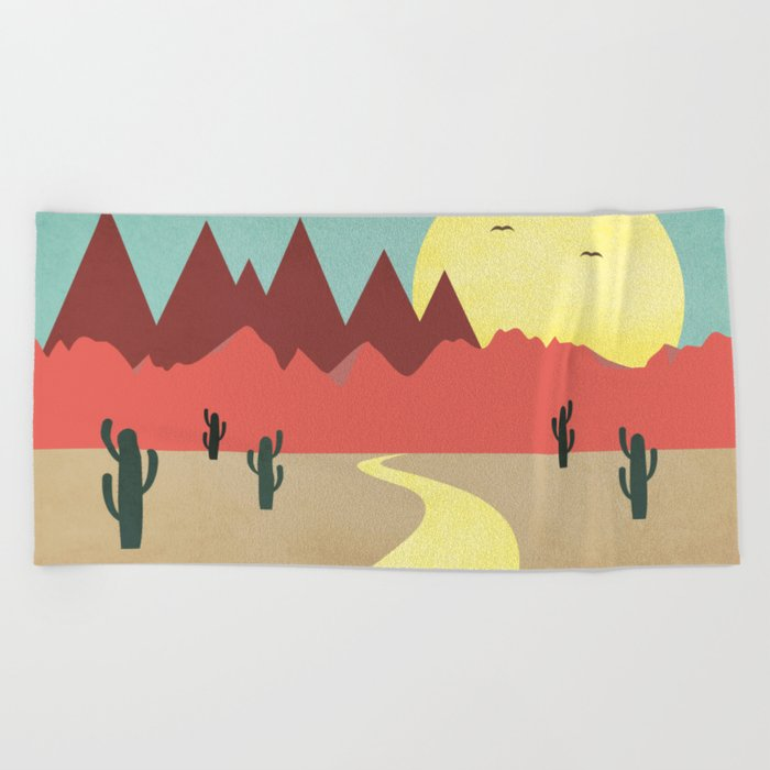Desert and mountains Beach Towel