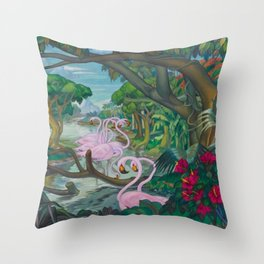 'Flamencos De Celestún De Yucatán' landscape painting by Alfonso Peña Throw Pillow