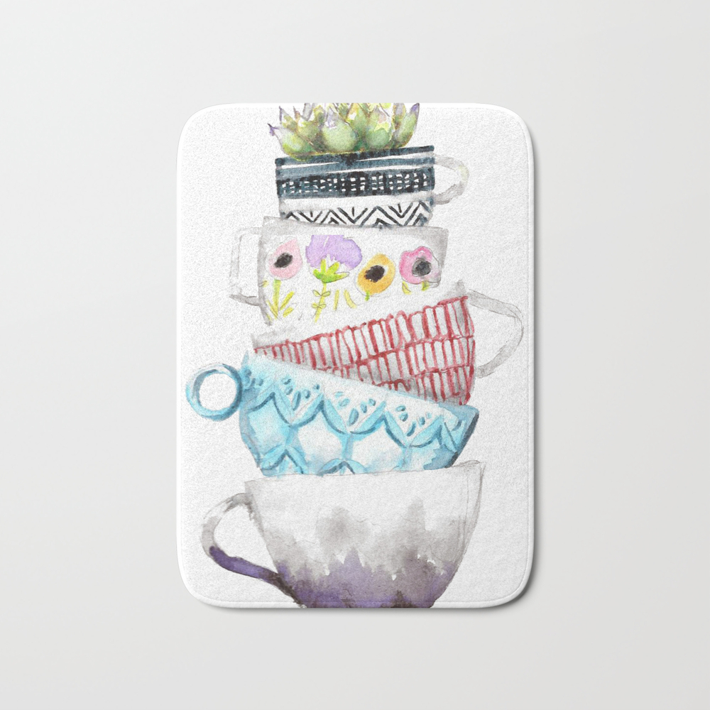 Cups On Cups On Cups Bath Mat by Hapticdrifter BMT8656197