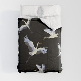 Crane flying in the black sky seamless pattern Comforters