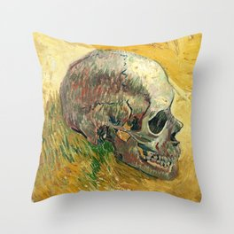 Van Gogh Skull Painting Throw Pillow