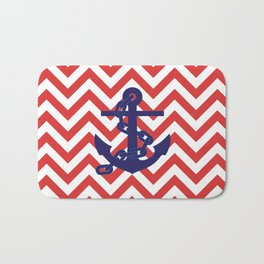 Blue Anchor on Red and White Chevron Pattern Bath Mat