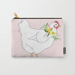 Spring Chicken Floral Illustrated Print Carry-All Pouch