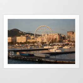 Italy : Ferris wheel for the Luci d'Artista 2018, Christmas lights show in Salerno, December 2018 Art Print