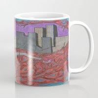 sin city Mugs featuring Sin Beneath the City by Labartwurx