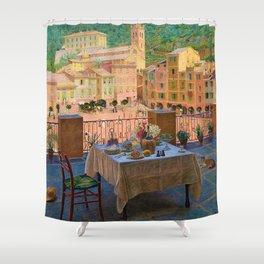 My lunch table in Portofino Italian Riviera by Kristian Zahrtmann Shower Curtain