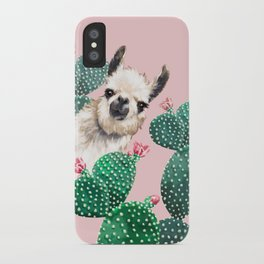 Llama and Cactus Pink iPhone Case