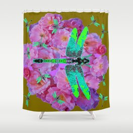 EMERALD DRAGONFLIES  PINK ROSES AVOCADO COLOR Shower Curtain