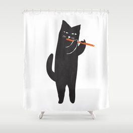 Black cat with flute Shower Curtain