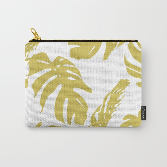 Simply Mod Yellow Palm Leaves Carry-All Pouch