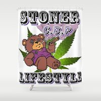 cannabis Shower Curtains featuring The King Of Cannabis Timothy The Cannabis Bear  by Timmy Ghee CBP/BMC Images  copy written
