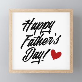 Simple Happy Father's Day Calligraphy Framed Mini Art Print