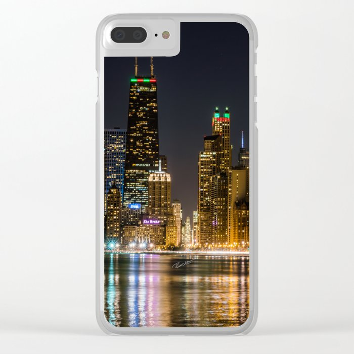 Chicago North Shore Skyline Night Clear iPhone Case