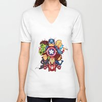avenger V-neck T-shirts featuring The Avenger by rendhy wahyu