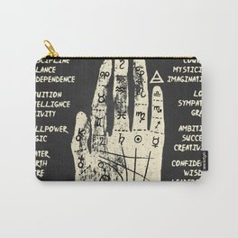 Palmistry, chiromancy. White on a blackboard background. Carry-All Pouch