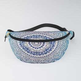 Teal And Aqua Lace Mandala Fanny Pack
