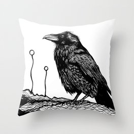 Jovial Raven Throw Pillow