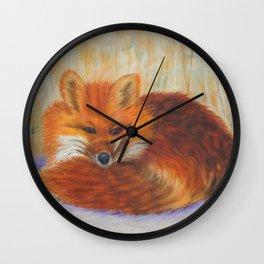 Red fox small nap | Renard roux petite sieste Wall Clock