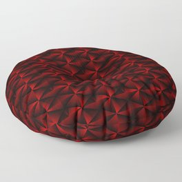 Rectangles of luminous red rhombuses and black pyramidal triangles. Floor Pillow