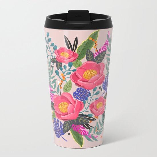 Romantic Blossom, flower print, floral print Metal Travel Mug