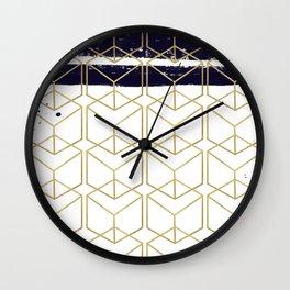 Blue & Gold Hexagon Wall Clock