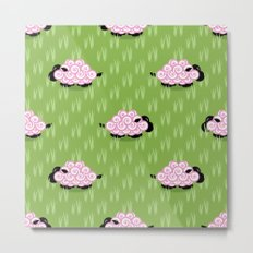 Pastel Sheep Pattern Metal Print