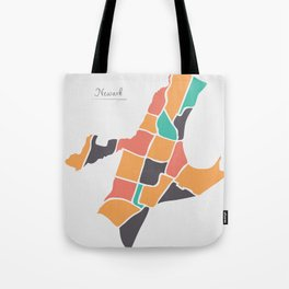 Newark New Jersey Map with neighborhoods and modern round shapes Tote Bag