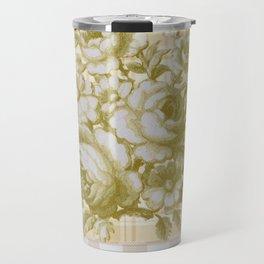 Vintage Rose on Plaid Travel Mug