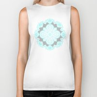 grey Biker Tanks featuring Teal and Aqua Lace Mandala on Grey by micklyn