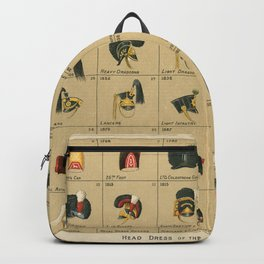 Vintage Infographic Print - Head dress of the British Army, 1750-1900 Backpack